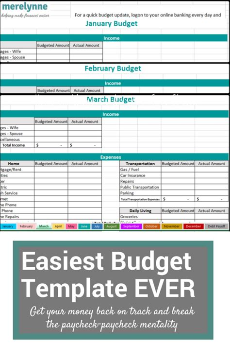 Easy Budget Spreadsheet Free Monthly Budget Sheet Excel Spreadsheet Budget Free Spreadsheet My Budget Excel Template