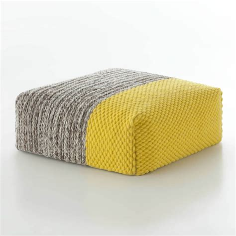 yellow ottoman gandia blasco mangas space ottoman square plait yellow