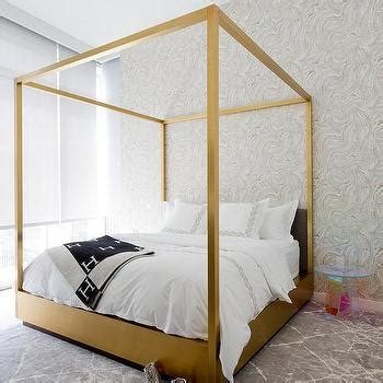 Gold Canopy Bed Crate And Barrel Colette Bed With Black And White Hermes Blanket Contemporary Bedroom