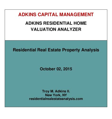 residential real estate property analysis report