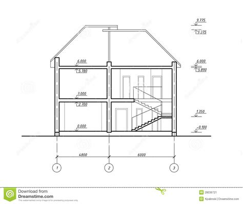 section drawing of a house house section stock illustration image of building