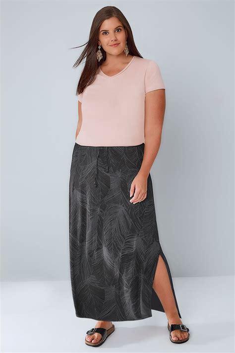 Murah Widea Washed Premium Skirt Rok Size Jumbo black grey leaf print trek aan maxi rok met side splits
