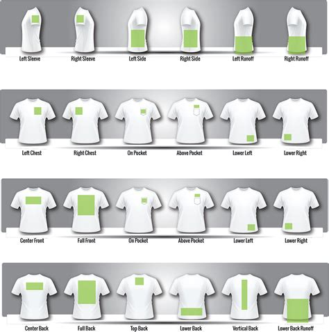 t shirt printing layout t shirt print areas impressionz printing