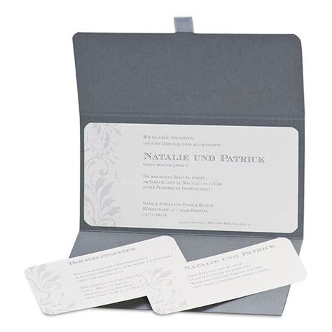 Hochzeitseinladungen Grau by Einladungskarte Hochzeit Quot Nathalie Quot In Grau Silber T 246 Nen