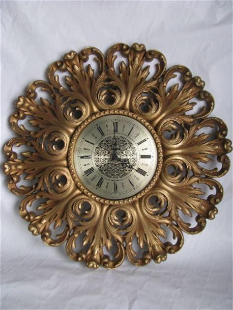 Huge ornate gold rococo plastic wall clock, vintage Syroco
