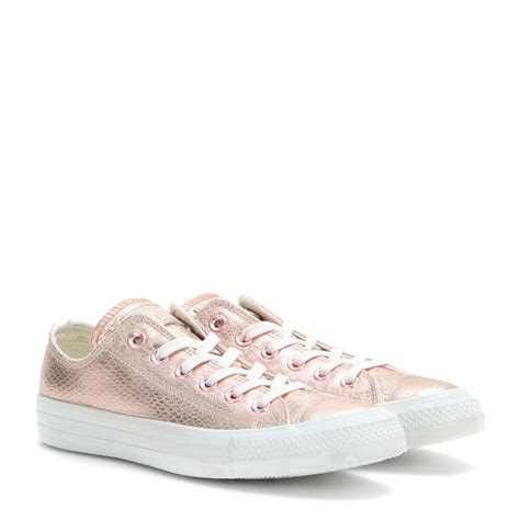 metallic sneakers lyst converse chuck ox metallic leather sneakers