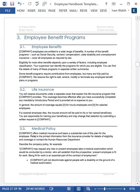 employee handbook template word employee handbook template 100 pg ms word