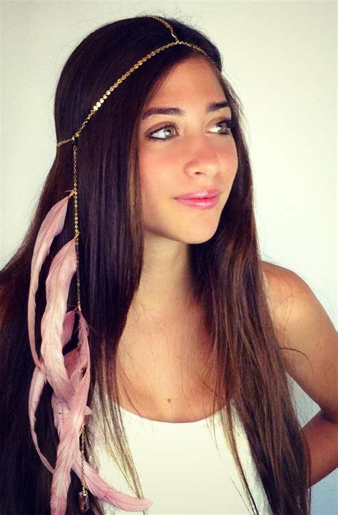 chain headpiece chain headdress feather headpiece with