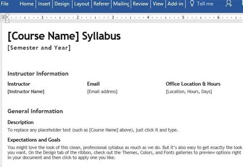 syllabus template word s syllabus template for word
