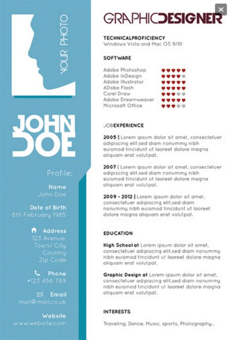 resume templates for graphic designers graphic designers single page resume