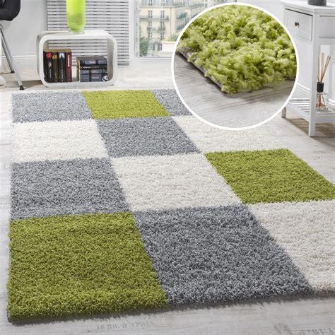 teppich langflor grau teppich shaggy karo zottel gr 252 n grau creme hochflor teppiche