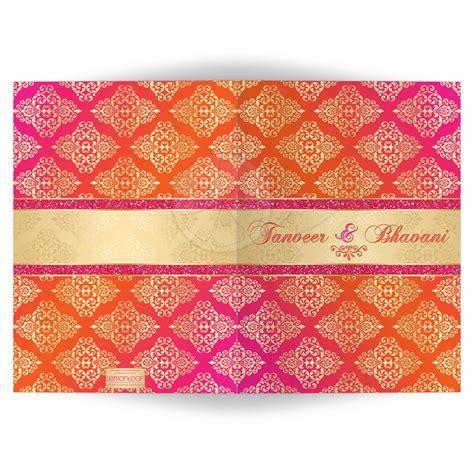 indian wedding invitations labels indian wedding invitation card orange fuchsia gold