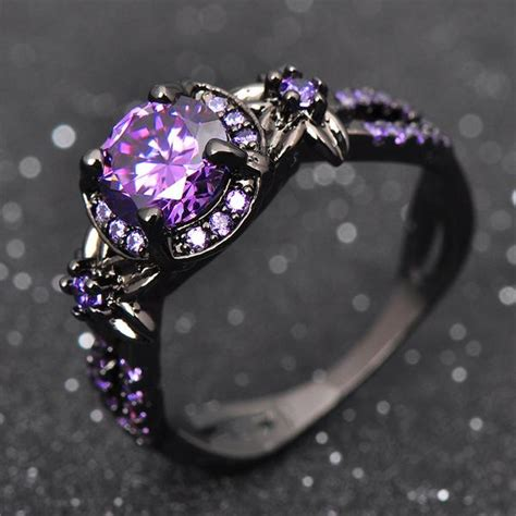 Purple Amethyst Titanium Ring ? Gecqo