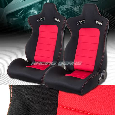 sports recliners 2 x universal red black woven sports reclining racing