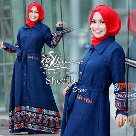 Gamis Pesta Biru Dongker sheeila biru dongker baju muslim gamis modern