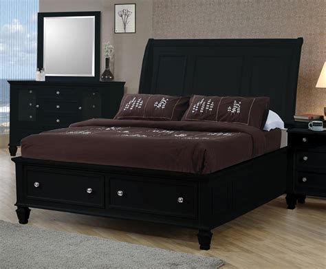 black storage bed sandy beach black king sleigh storage bed from coaster