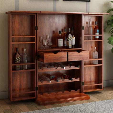 Wood Bar Cabinet Wisconsin Rustic Solid Wood Expandable Bar Cabinet With Wine Storage