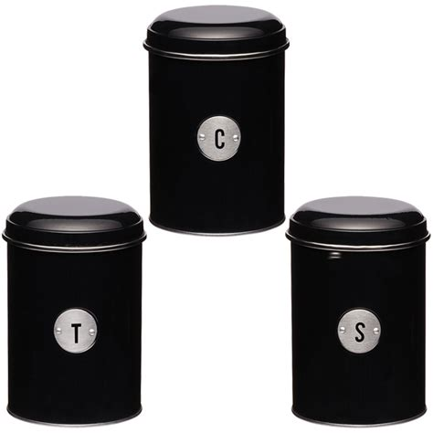 new kitchen craft metro kitchen black 3 canisters airtight tea coffee sugar tins ebay