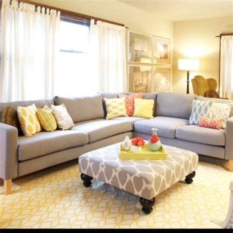 grey yellow living room yellow gray living room living room inspiration grey ottomans and gray couches