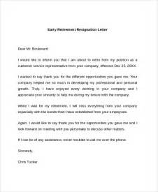 Early Resignation Letter sle retirement resignation letter 6 documents in pdf word