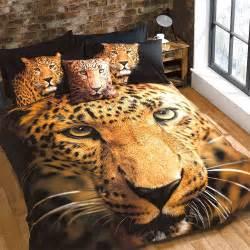 Leopard animal print gold black single duvet cover quilt set hallways