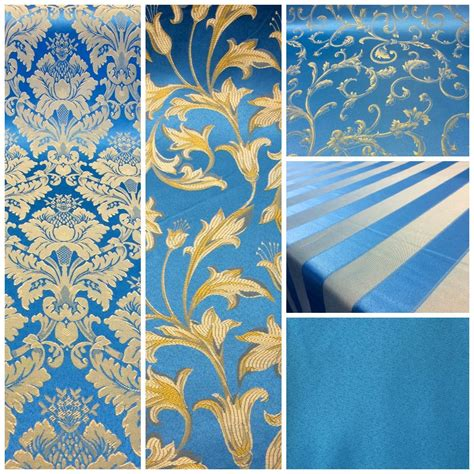 Fabrics And Upholstery by Turquoise Gold Damask Jacquard Brocade Fabric 118 Quot By The
