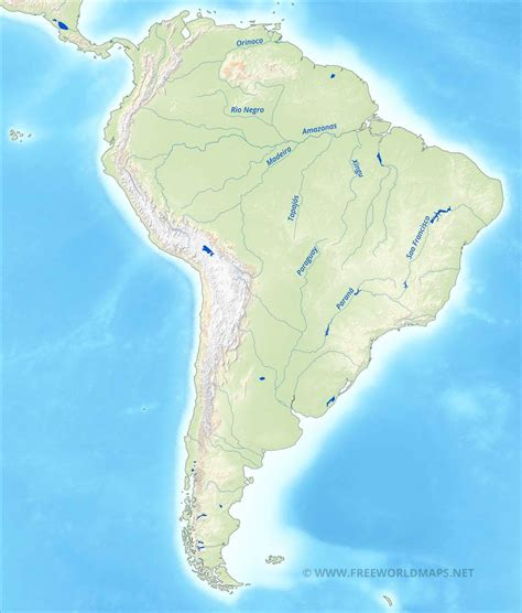 rivers of south america map south america physical map freeworldmaps net