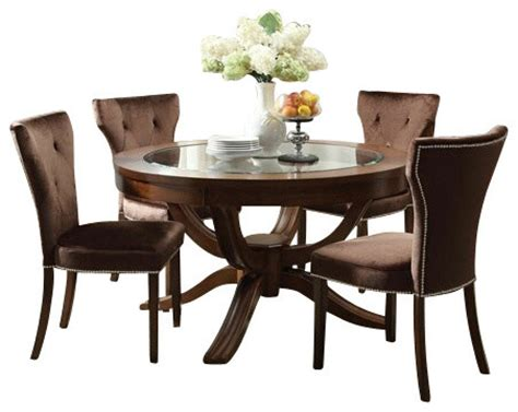 furniture brown varnish wooden dining table sets with 5 piece kingston wood round table set brown cherry finish