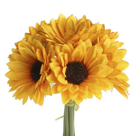 Golden Yellow Artificial Sunflower Bouquet   Bushes and