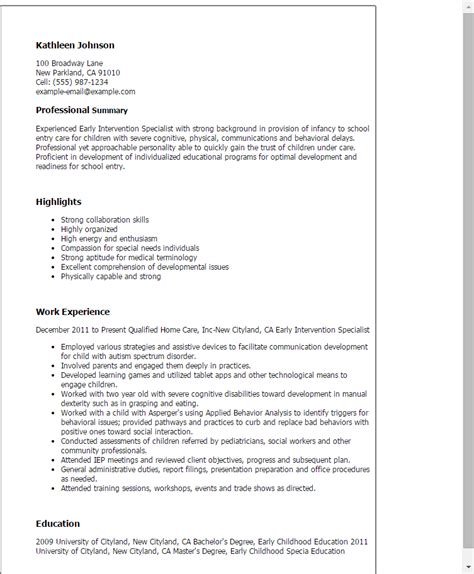 Nanny Resume Examples Free professional early intervention specialist templates to