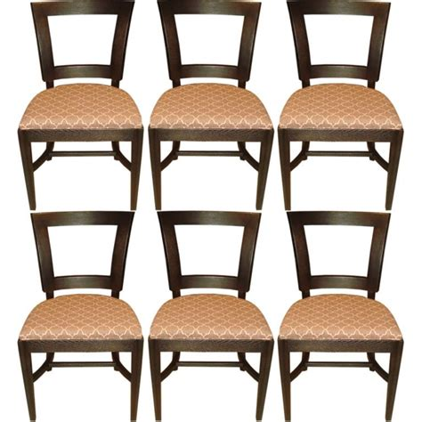 set of six 1940s dining side chairs with cut out design in