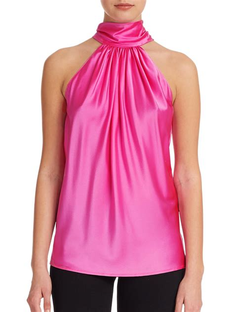 Blouse Halter Spandek ramy brook silk halter blouse in pink lyst