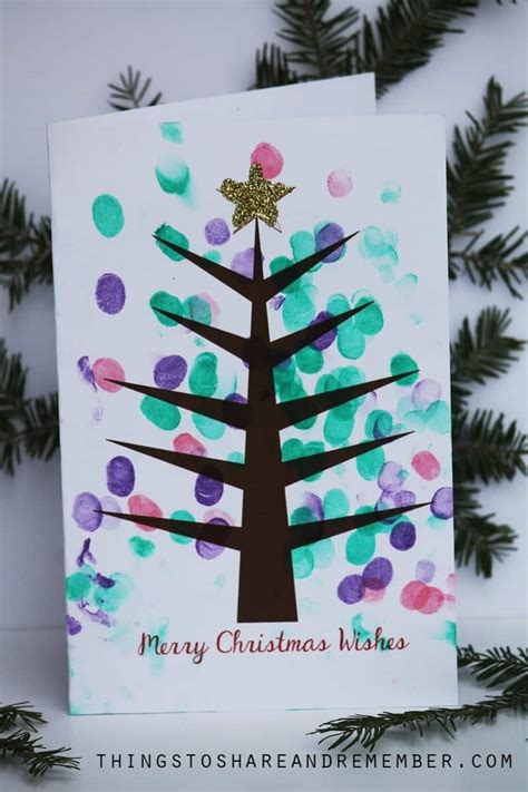 christmas cards ideas preschool printable fingerprint tree card