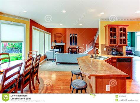 Open Kitchen Great Room Floor Plans - interior design great kitchen dining and living room combinati stock photo image 37253450
