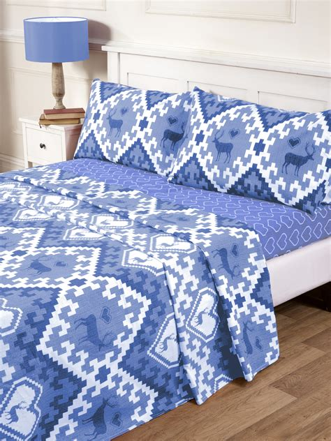 blue patterned bedding uk natural 100 brushed cotton cosy flannelette oslo printed