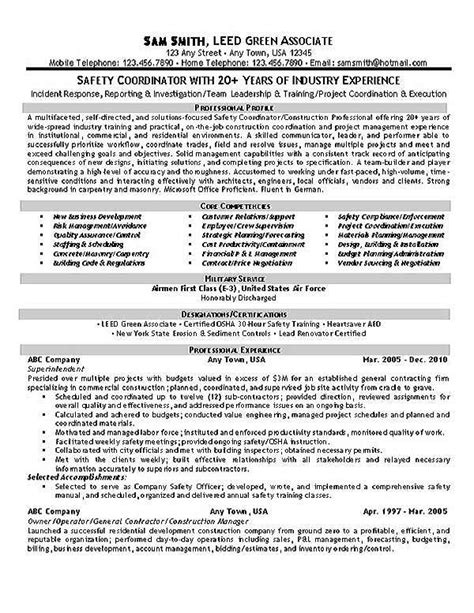 safety coordinator resume exle
