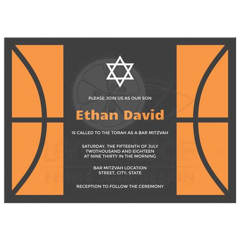 Bar Mitzvah Invitations by Custom Bar Mitzvah Invitations In Navy Blue Orange And