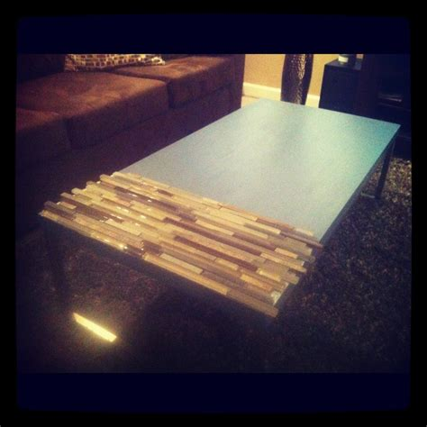 reclaimed coffee table painted wood with glass and