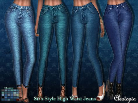 sims 4 high waisted jeans 80 s wash high waisted jeans by cleotopia at tsr 187 sims 4