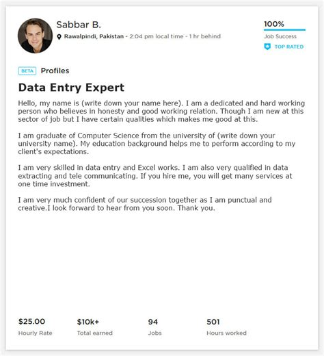 data entry overview sle and exle for upwork webson
