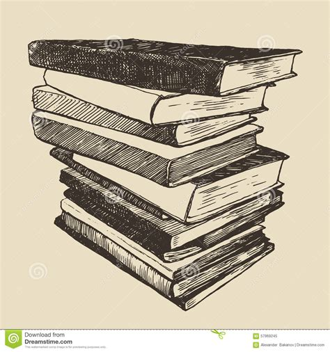 libro drawn from the archive pile old books vintage drawn vector sketch stock vector image 57969245