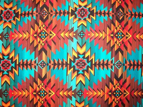 printable native art navajo teal orange brown traditional overal cotton fabric fat
