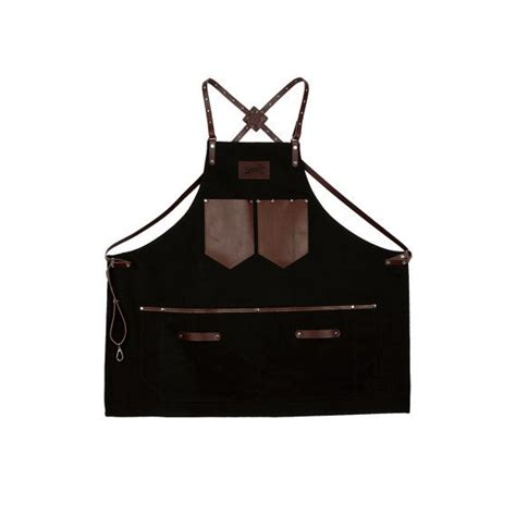 pattern for leather apron barista apron black canvas with dark brown leather strap