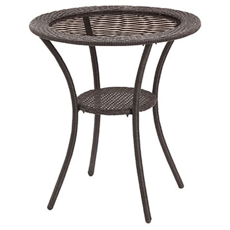 Big Lots Patio Table View Wilson Fisher 174 Resin Wicker Glass Top Bistro Table Deals At Big Lots