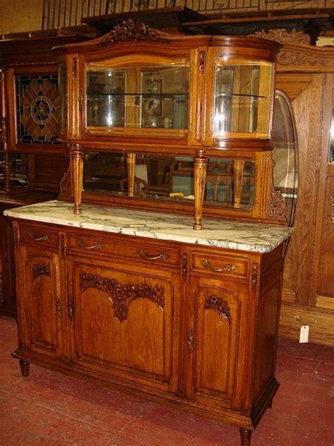 French Antique Carved Marble Top Buffet Sideboard Hutch Vintage Buffet And Hutch