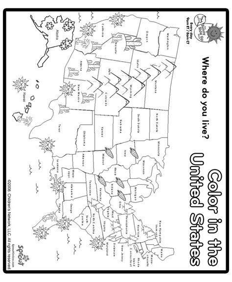 color map of united states print and color us map coloring page social studies