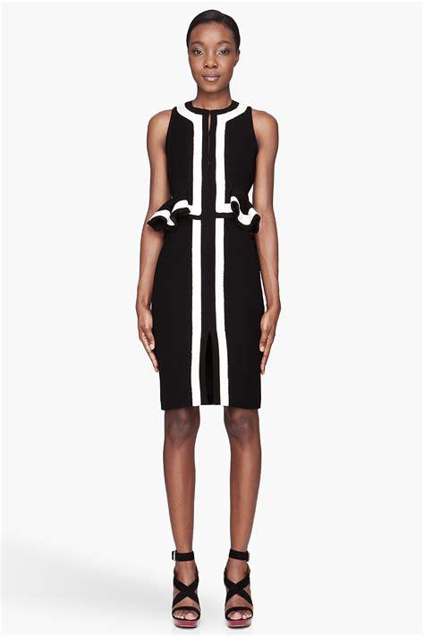 Jumpsuit Peplum Bordir White plus size striped peplum dress in black white stripes