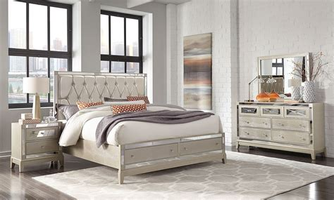 mirror storage bedroom set champagne  global furniture furniturepick
