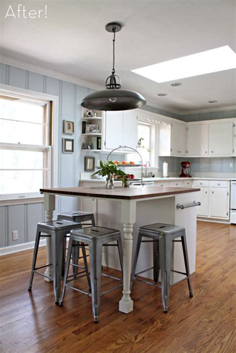 islands for kitchens with stools 14 simple homemade kitchen islands shelterness