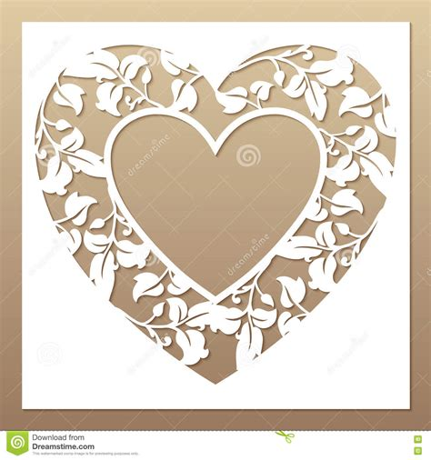 templates for laser cutting openwork white frame with heart and leaves stock vector